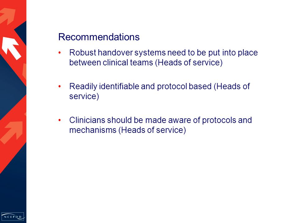 Recommendations Robust handover systems need to be put into place between clinical teams (Heads of service) Readily identifiable and protocol based (Heads of service) Clinicians should be made aware of protocols and mechanisms (Heads of service)