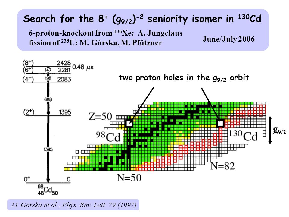 g 9/2 Search for the 8 + (g 9/2 ) -2 seniority isomer in 130 Cd two proton holes in the g 9/2 orbit 6-proton-knockout from 136 Xe: A.