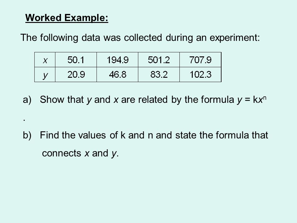 Worked Example: The following data was collected during an experiment: a) Show that y and x are related by the formula y = kx n. b) Find the values of