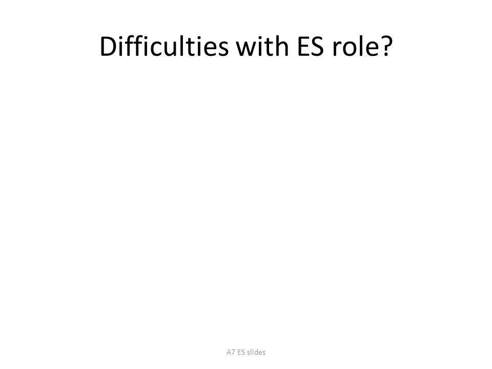 Difficulties with ES role? A7 ES slides