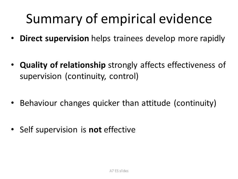 Summary of empirical evidence Direct supervision helps trainees develop more rapidly Quality of relationship strongly affects effectiveness of supervision (continuity, control) Behaviour changes quicker than attitude (continuity) Self supervision is not effective A7 ES slides