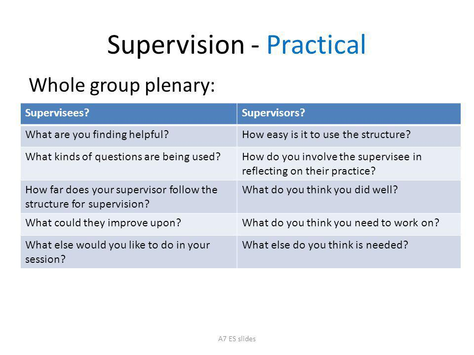 Supervision - Practical Whole group plenary: Supervisees?Supervisors.
