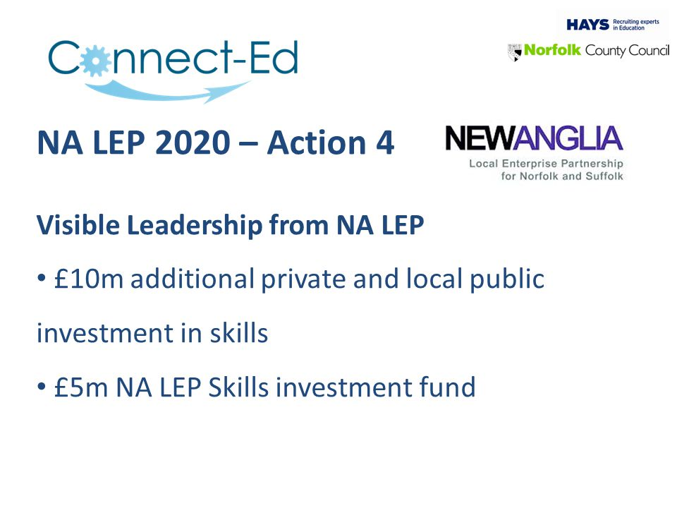 NA LEP 2020 – Action 4 Visible Leadership from NA LEP £10m additional private and local public investment in skills £5m NA LEP Skills investment fund