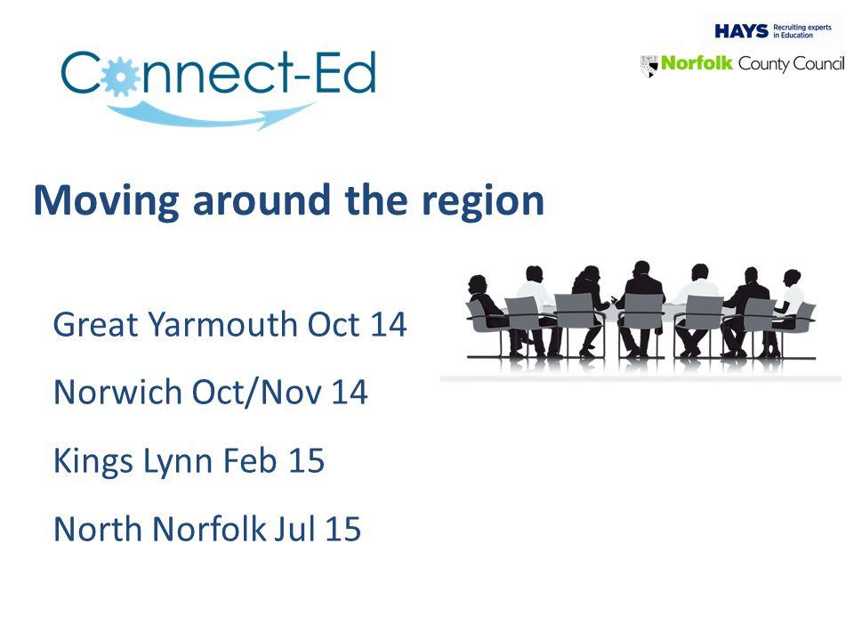 Moving around the region Great Yarmouth Oct 14 Norwich Oct/Nov 14 Kings Lynn Feb 15 North Norfolk Jul 15