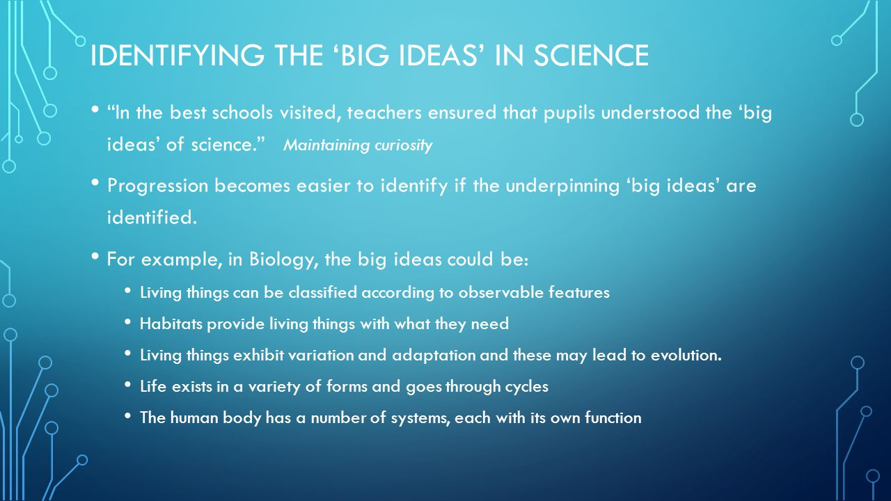 IDENTIFYING THE 'BIG IDEAS' IN SCIENCE In the best schools visited, teachers ensured that pupils understood the 'big ideas' of science. Maintaining curiosity Progression becomes easier to identify if the underpinning 'big ideas' are identified.