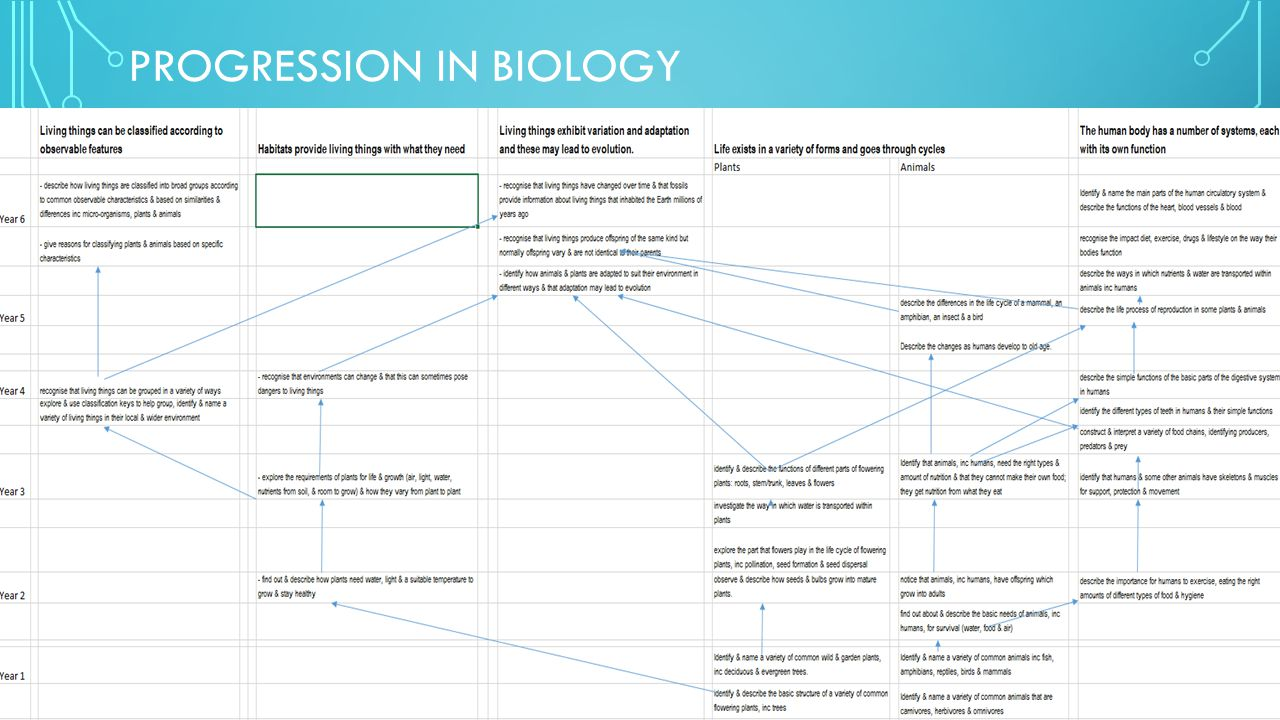 PROGRESSION IN BIOLOGY