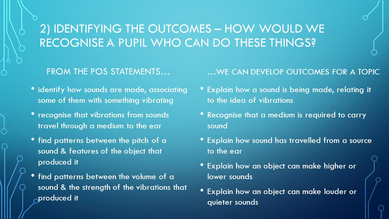 2) IDENTIFYING THE OUTCOMES – HOW WOULD WE RECOGNISE A PUPIL WHO CAN DO THESE THINGS.