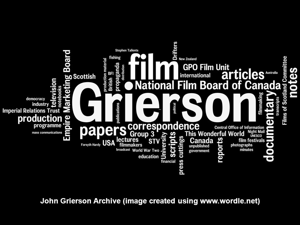 John Grierson Archive (image created using www.wordle.net)
