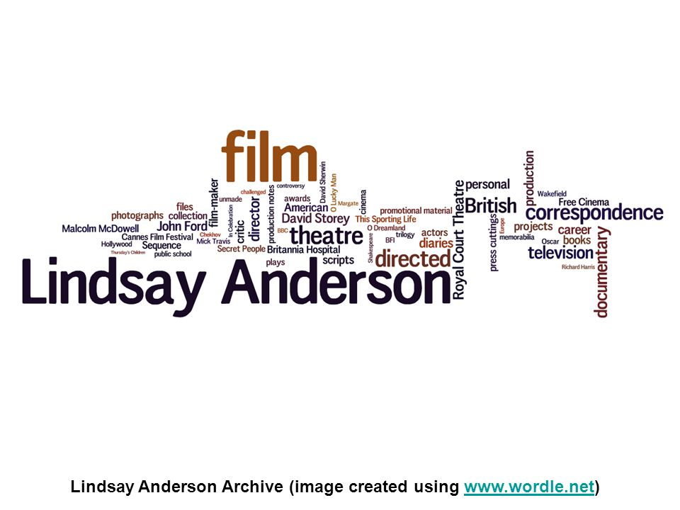 Lindsay Anderson Archive (image created using www.wordle.net)www.wordle.net