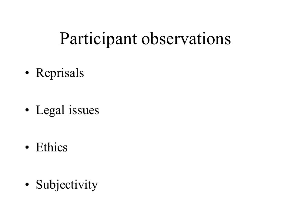 Participant observations Reprisals Legal issues Ethics Subjectivity
