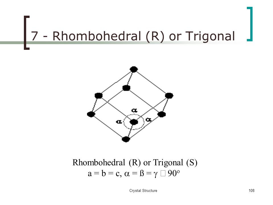 Crystal Structure107 6 – TETRAGONAL SYSTEM Tetragonal (P)  = ß =  = 90 o a = b  c Tetragonal (BC)  = ß =  = 90 o a = b  c