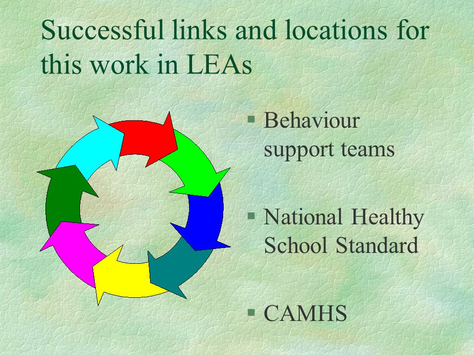 Successful links and locations for this work in LEAs §Behaviour support teams §National Healthy School Standard §CAMHS