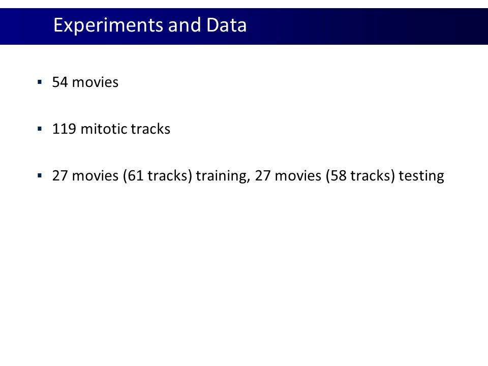 Experiments and Data  54 movies  119 mitotic tracks  27 movies (61 tracks) training, 27 movies (58 tracks) testing