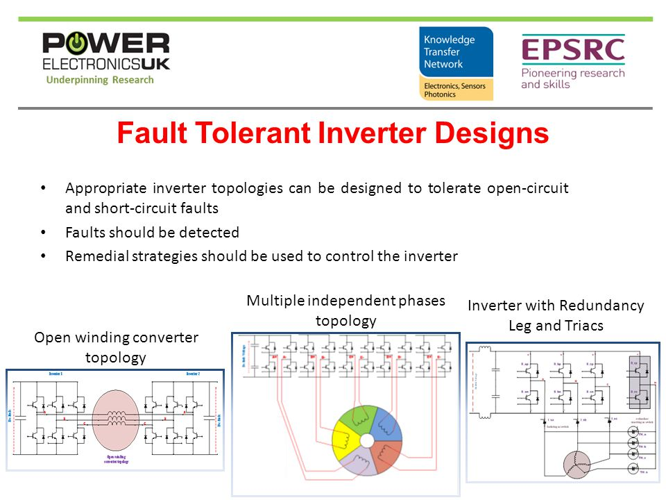 Fault Tolerant Inverter Designs Appropriate inverter topologies can be designed to tolerate open-circuit and short-circuit faults Faults should be det