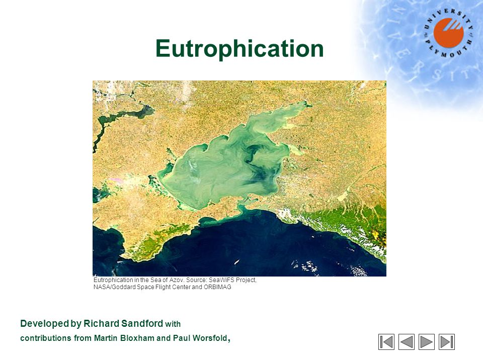 Eutrophication Developed by Richard Sandford with contributions from Martin Bloxham and Paul Worsfold, Eutrophication in the Sea of Azov.