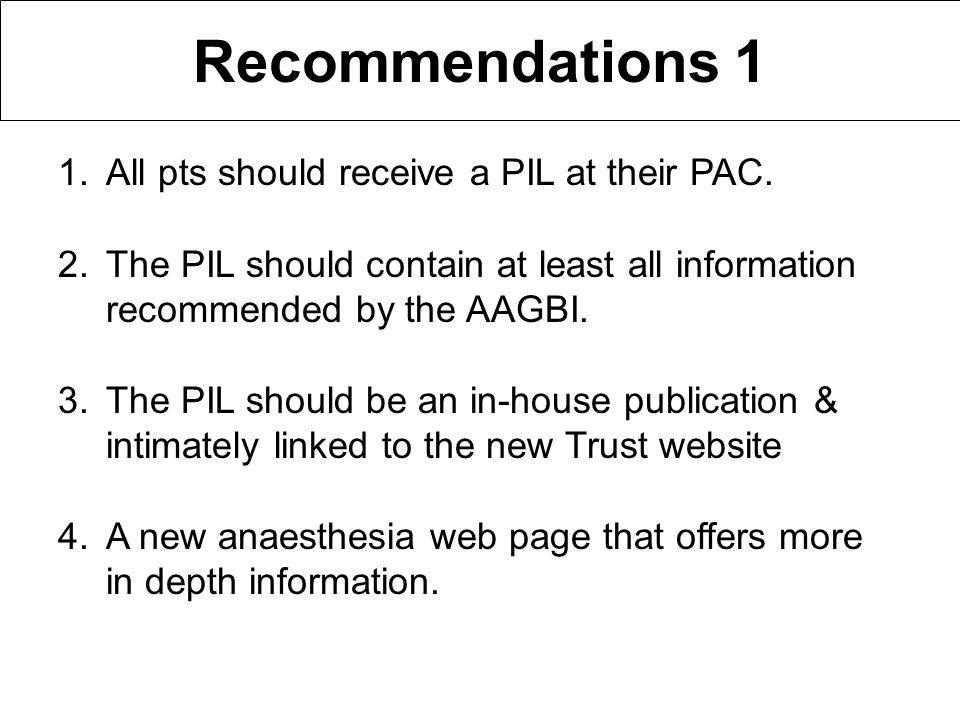 Recommendations 1 1.All pts should receive a PIL at their PAC.