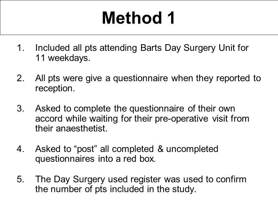 Method 1 1.Included all pts attending Barts Day Surgery Unit for 11 weekdays.