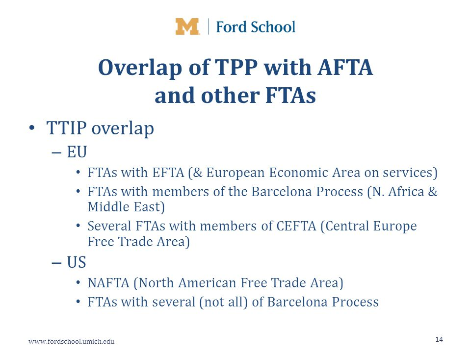 www.fordschool.umich.edu Overlap of TPP with AFTA and other FTAs TTIP overlap – EU FTAs with EFTA (& European Economic Area on services) FTAs with members of the Barcelona Process (N.