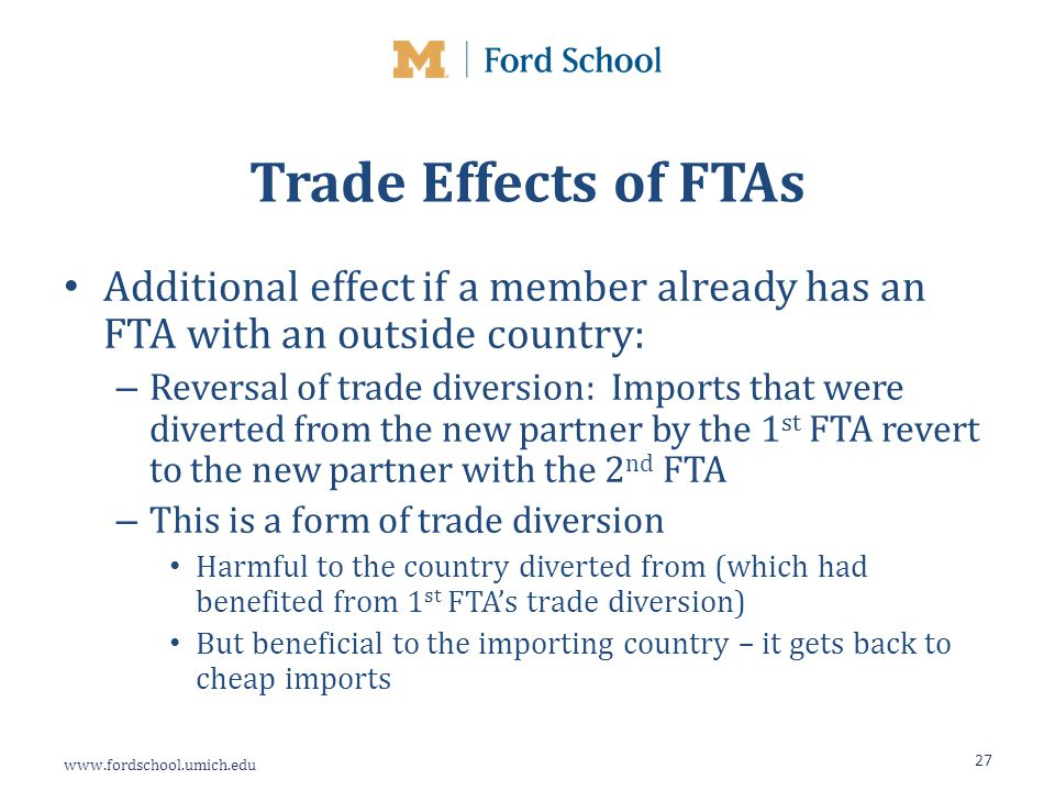 www.fordschool.umich.edu Trade Effects of FTAs Additional effect if a member already has an FTA with an outside country: – Reversal of trade diversion: Imports that were diverted from the new partner by the 1 st FTA revert to the new partner with the 2 nd FTA – This is a form of trade diversion Harmful to the country diverted from (which had benefited from 1 st FTA's trade diversion) But beneficial to the importing country – it gets back to cheap imports 27