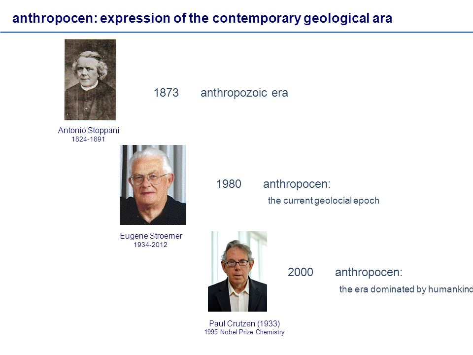 anthropocen: expression of the contemporary geological ara Antonio Stoppani 1824-1891 1873anthropozoic era Paul Crutzen (1933) 1995 Nobel Prize Chemistry 2000anthropocen: the era dominated by humankind Eugene Stroemer 1934-2012 1980anthropocen: the current geolocial epoch