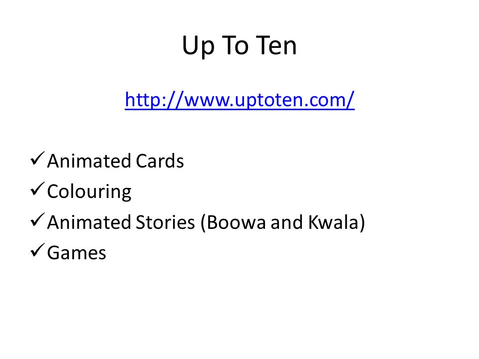 Up To Ten   Animated Cards Colouring Animated Stories (Boowa and Kwala) Games