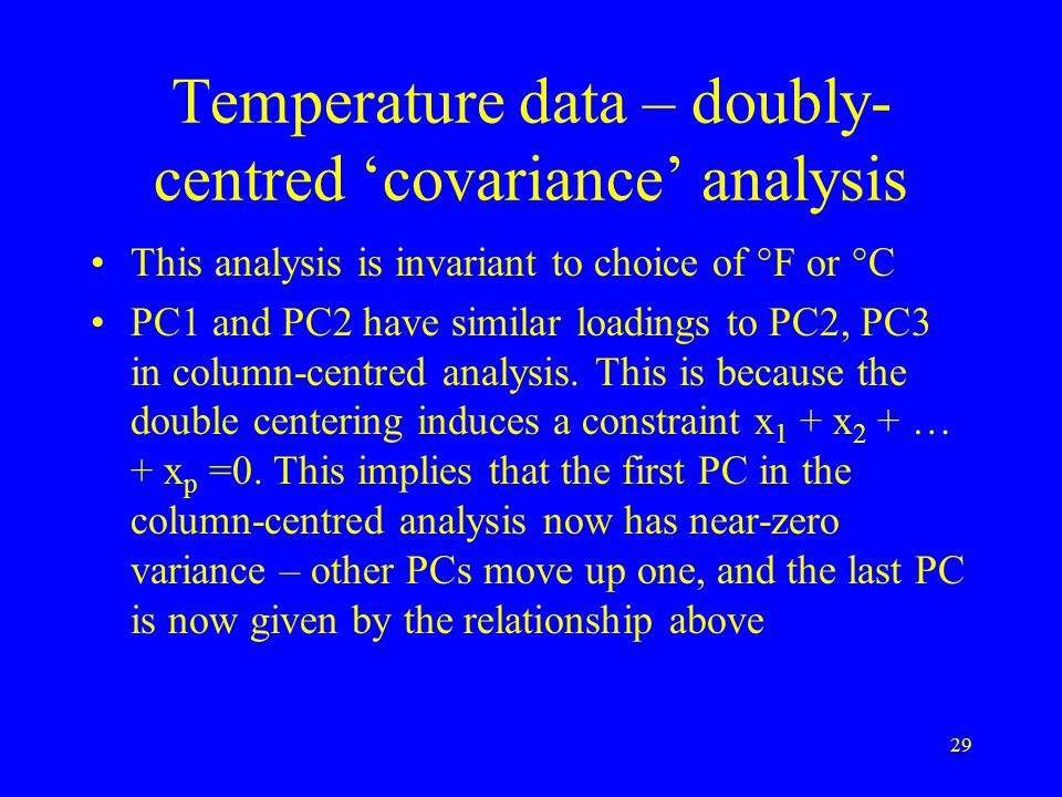 29 Temperature data – doubly- centred 'covariance' analysis This analysis is invariant to choice of °F or °C PC1 and PC2 have similar loadings to PC2, PC3 in column-centred analysis.