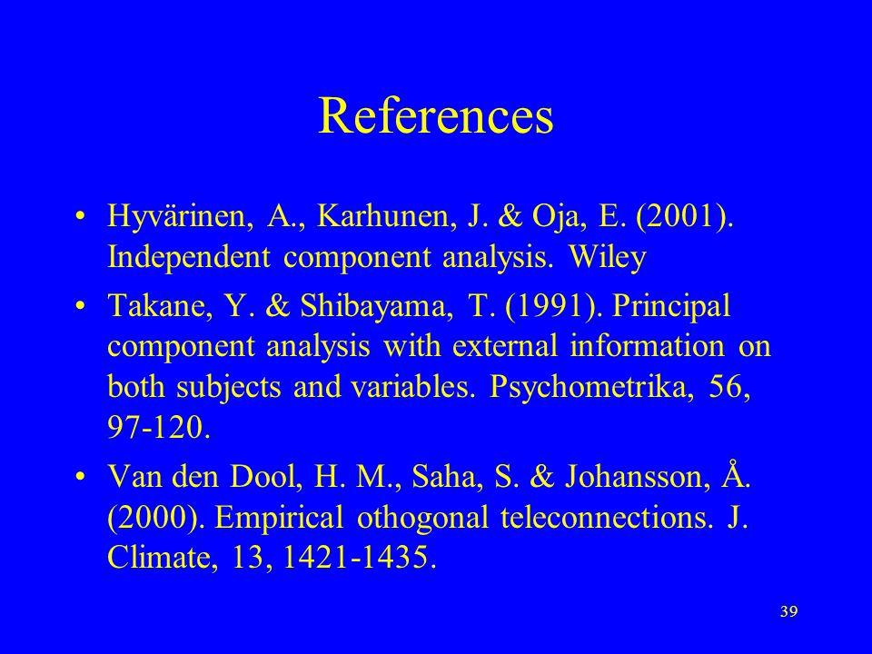 39 References Hyvärinen, A., Karhunen, J. & Oja, E.