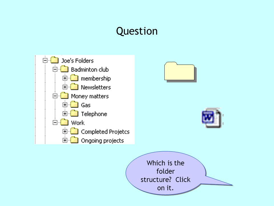 Folder structure question Which is the folder structure Click on it. Question