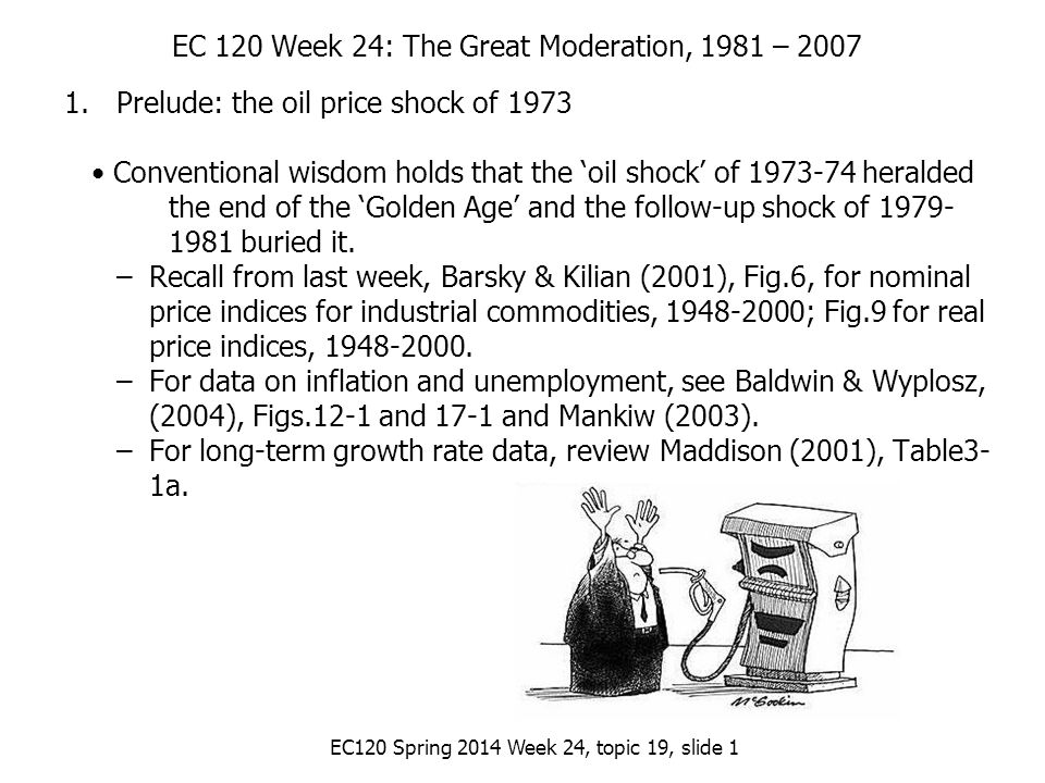 EC120 Spring 2014 Week 24, topic 19, slide 1 EC 120 Week 24: The Great Moderation, 1981 – 2007 1.Prelude: the oil price shock of 1973 Conventional wisdom holds that the 'oil shock' of 1973-74 heralded the end of the 'Golden Age' and the follow-up shock of 1979- 1981 buried it.