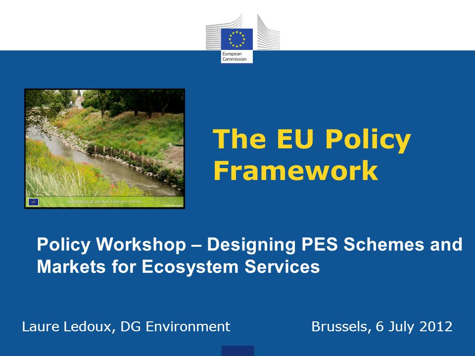 The EU Policy Framework Policy Workshop – Designing PES Schemes and Markets for Ecosystem Services Laure Ledoux, DG Environment Brussels, 6 July 2012