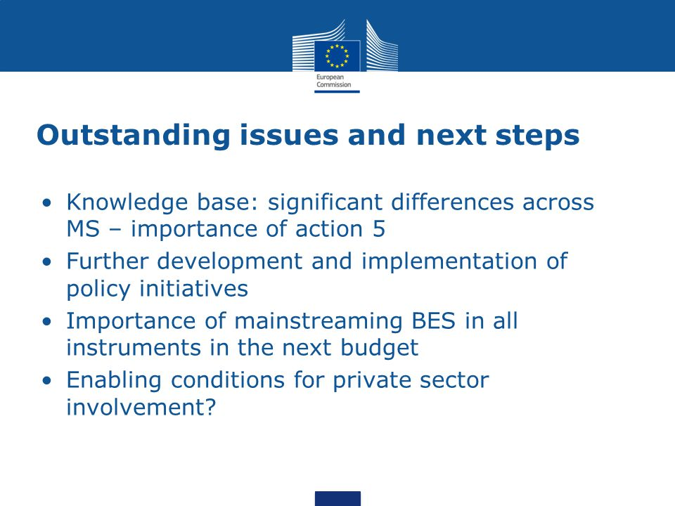 Outstanding issues and next steps Knowledge base: significant differences across MS – importance of action 5 Further development and implementation of