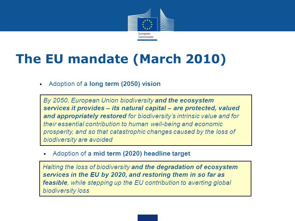 4 International biodiversity policy framework Adoption of EU post- 2010 biodiversity vision & headline target Adoption (15-26/03/10) Adoption of new global Strategic Plan 2011-2020 (vision, mission, 20 targets) CBD COP10 (10/2010) Development and adoption of post-2010 EU Biodiversity Strategy Adoption by Commission (05/ 2011), endorsed by Council (06/2011)