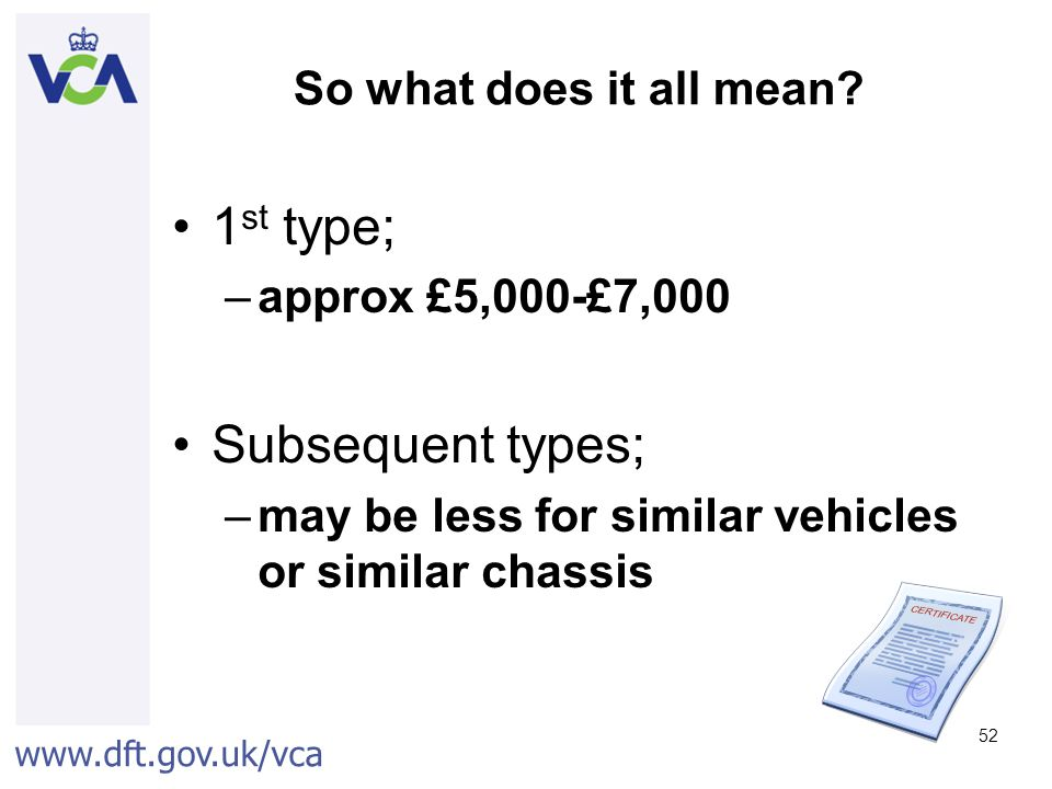 www.dft.gov.uk/vca 52 So what does it all mean.
