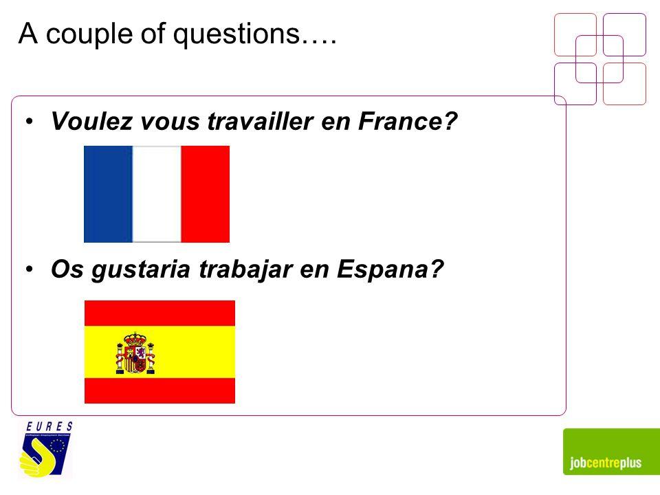 A couple of questions…. Voulez vous travailler en France Os gustaria trabajar en Espana