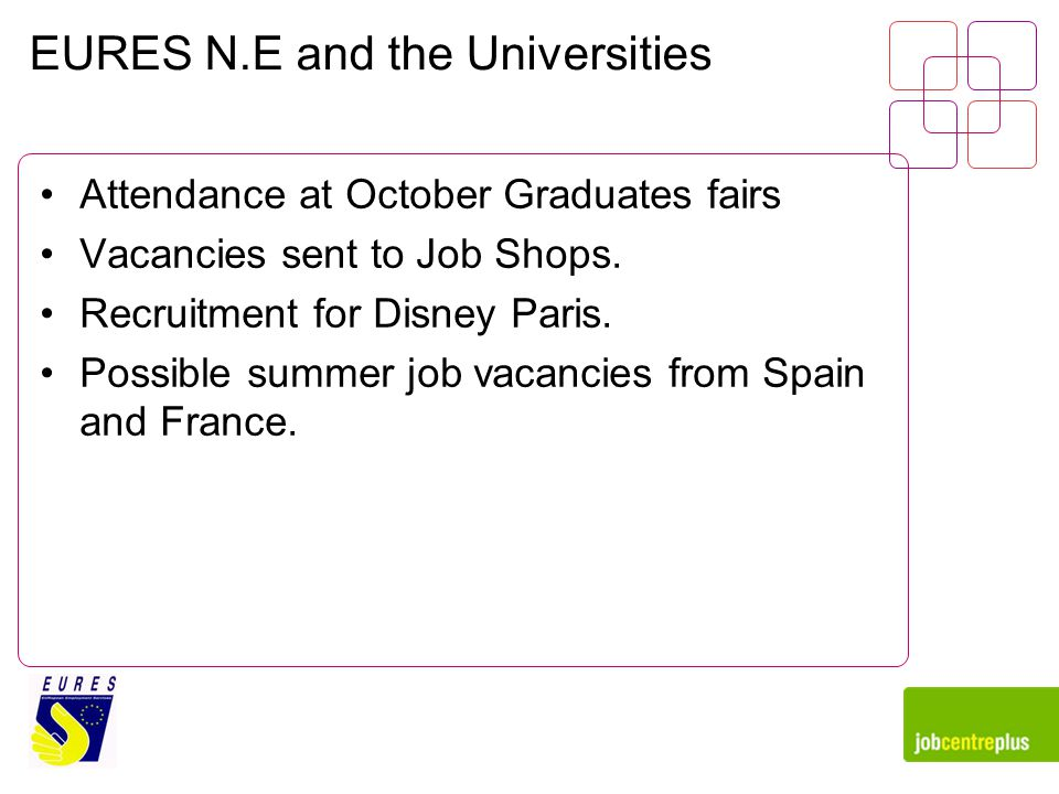 EURES N.E and the Universities Attendance at October Graduates fairs Vacancies sent to Job Shops.