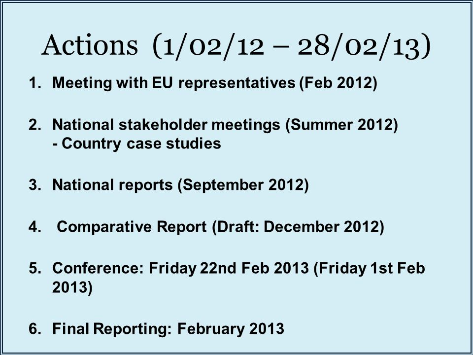 Actions (1/02/12 – 28/02/13) 1.Meeting with EU representatives (Feb 2012) 2.National stakeholder meetings (Summer 2012) - Country case studies 3.National reports (September 2012) 4.