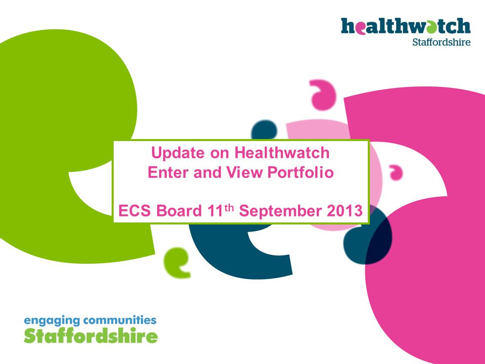 Update on Healthwatch Enter and View Portfolio ECS Board 11 th September 2013