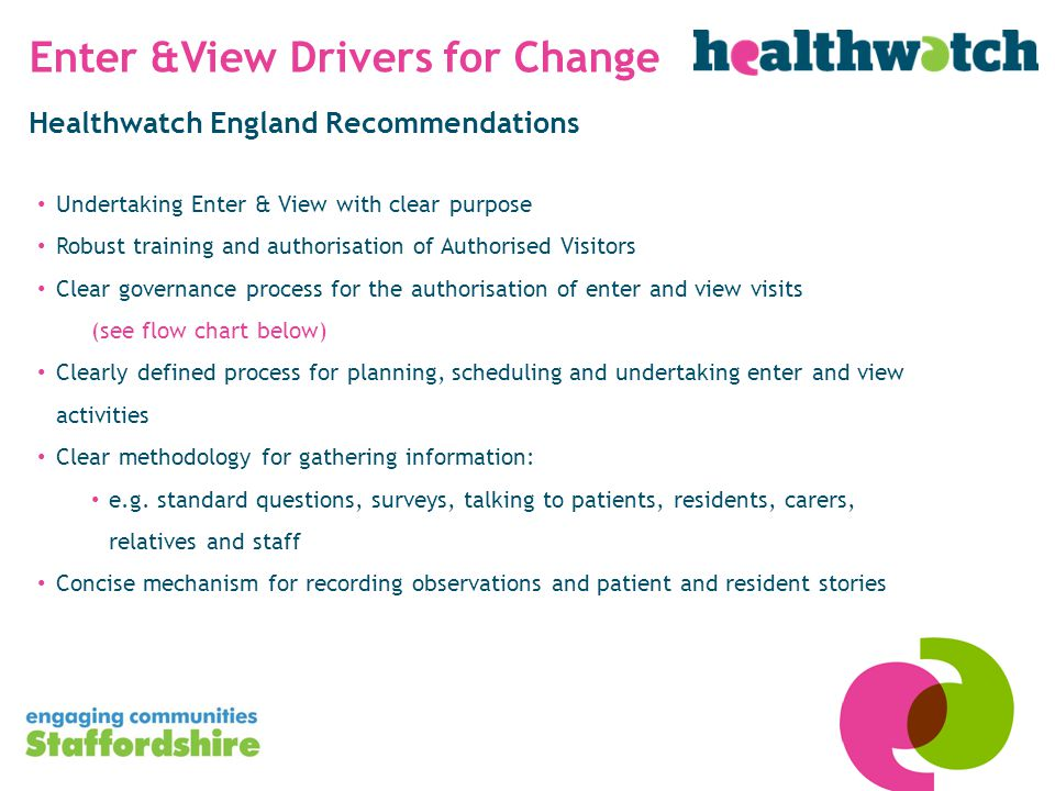 Healthwatch England Recommendations Undertaking Enter & View with clear purpose Robust training and authorisation of Authorised Visitors Clear governance process for the authorisation of enter and view visits (see flow chart below) Clearly defined process for planning, scheduling and undertaking enter and view activities Clear methodology for gathering information: e.g.