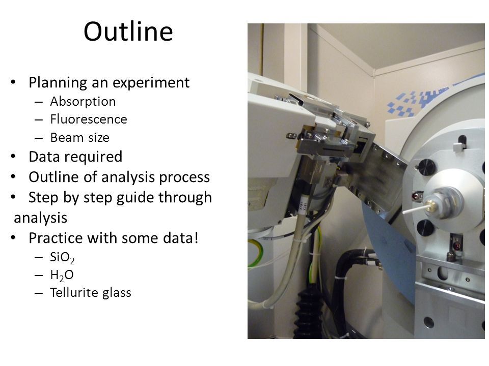 Outline Planning an experiment – Absorption – Fluorescence – Beam size Data required Outline of analysis process Step by step guide through analysis P