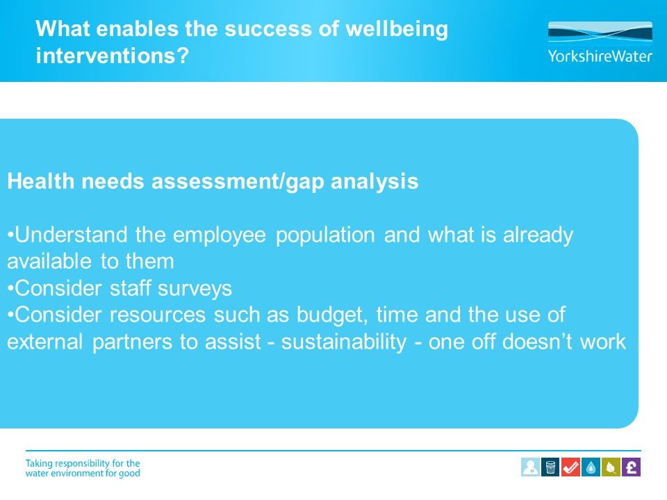 What enables the success of wellbeing interventions? Health needs assessment/gap analysis Understand the employee population and what is already avail