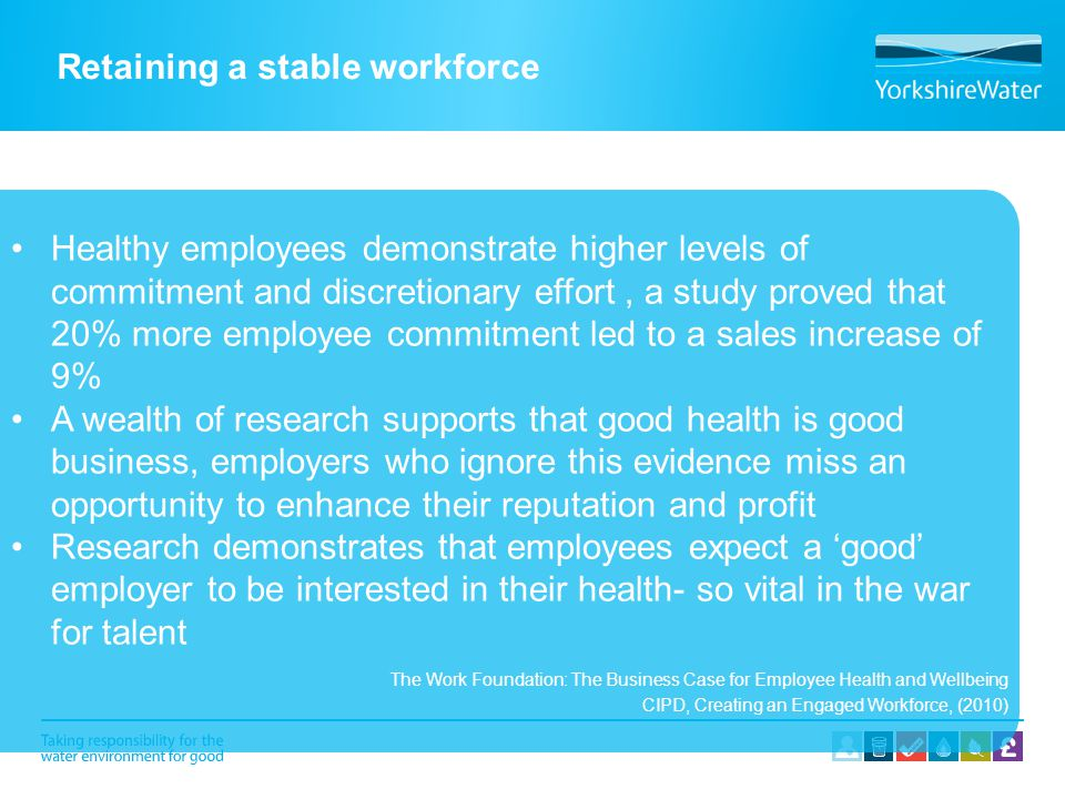 Retaining a stable workforce Healthy employees demonstrate higher levels of commitment and discretionary effort, a study proved that 20% more employee