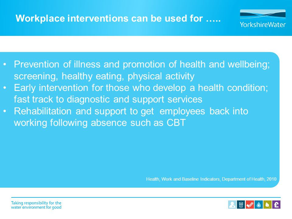 Workplace interventions can be used for ….. Prevention of illness and promotion of health and wellbeing; screening, healthy eating, physical activity