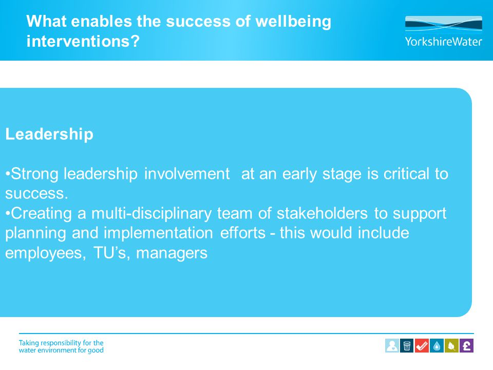 What enables the success of wellbeing interventions.