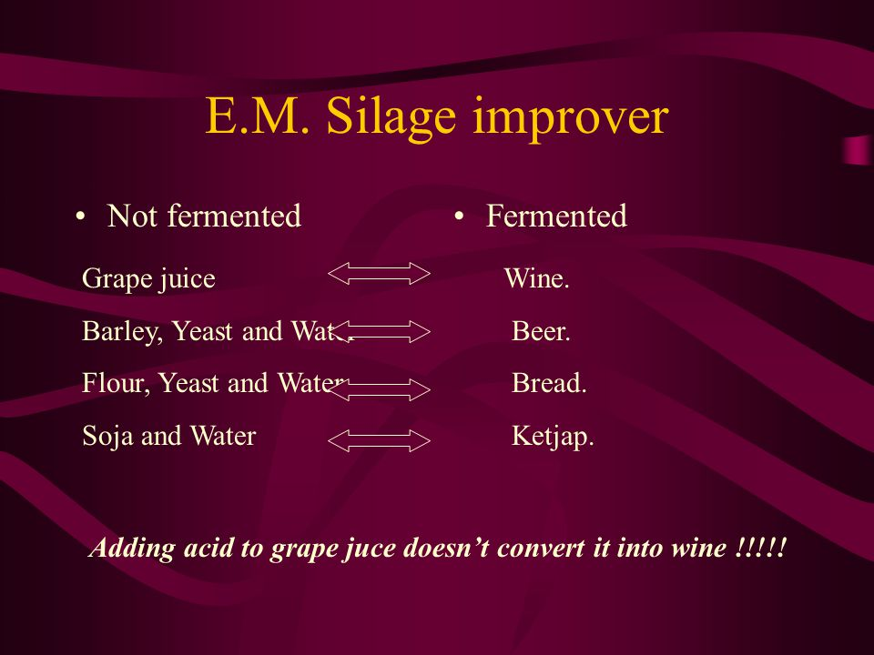 Not fermentedFermented E.M. Silage improver Grape juice Barley, Yeast and Water Flour, Yeast and Water Soja and Water Wine. Beer. Bread. Ketjap. Addin