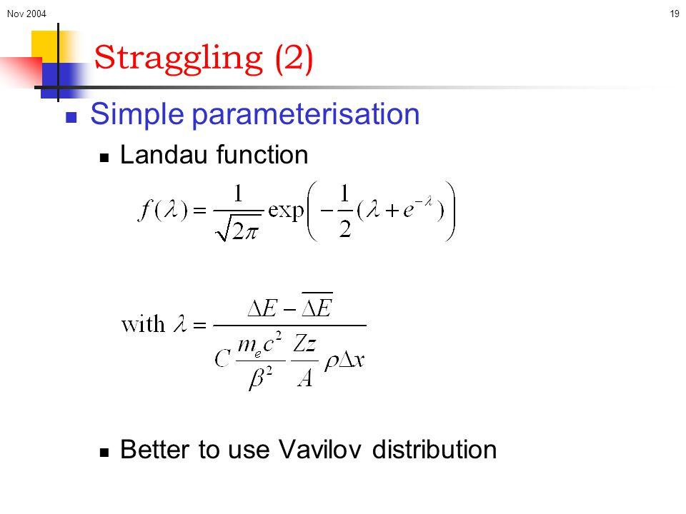 Nov 200419 Straggling (2) Simple parameterisation Landau function Better to use Vavilov distribution