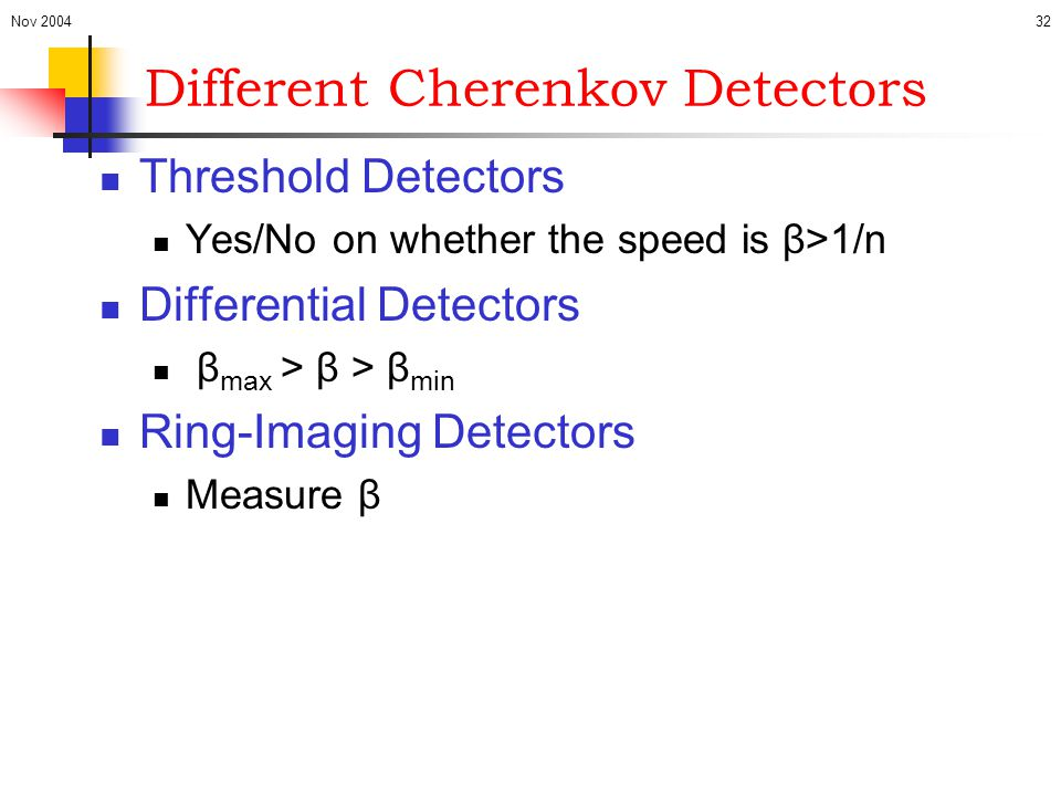 Nov 200432 Different Cherenkov Detectors Threshold Detectors Yes/No on whether the speed is β>1/n Differential Detectors β max > β > β min Ring-Imagin