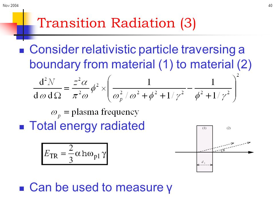Nov 200440 Transition Radiation (3) Consider relativistic particle traversing a boundary from material (1) to material (2) Total energy radiated Can b