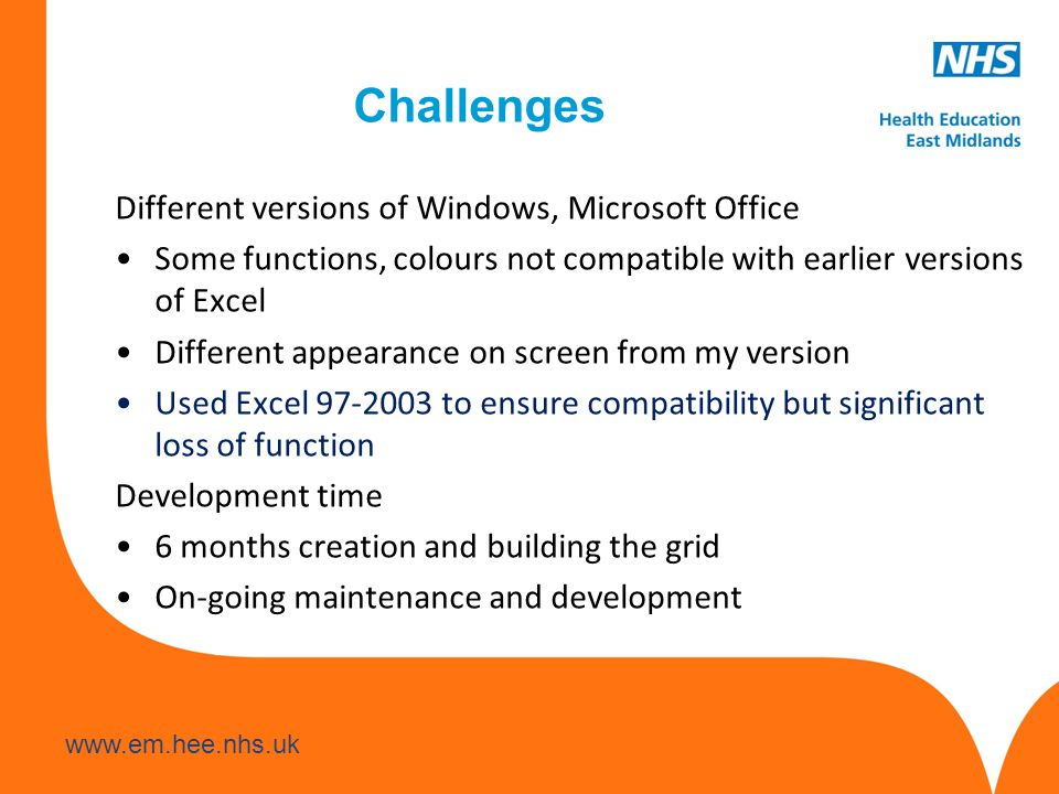 Challenges Different versions of Windows, Microsoft Office Some functions, colours not compatible with earlier versions of Excel Different appearance on screen from my version Used Excel to ensure compatibility but significant loss of function Development time 6 months creation and building the grid On-going maintenance and development
