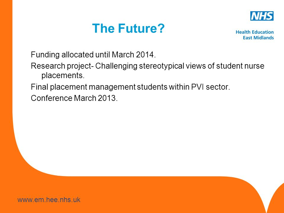 The Future. Funding allocated until March