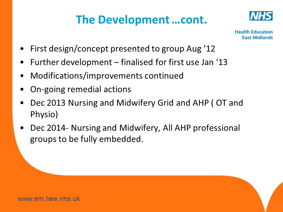 www.em.hee.nhs.uk The Development …cont. First design/concept presented to group Aug '12 Further development – finalised for first use Jan '13 Modific